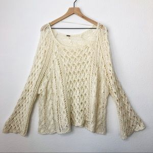 Free People Open Knit Chunky V-Neck Sweater.